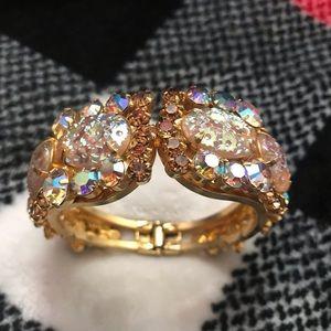 Gold Tone Spring Clasp Rhinestone Bracelet